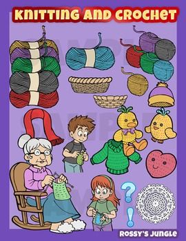 Knitting and crochet clip art set