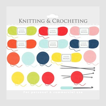 Knitting clipart - crochet clip art, crocheting knit wool knitting needles, yarn
