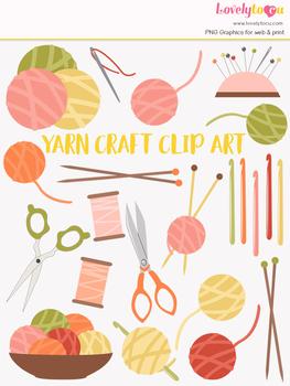 Knitting & crochet clipart, needlework crafts clip art (LC17)