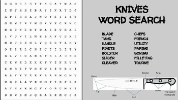 Knives Word Search; Parts/Types of Knives; FACS, Culinary Arts, Bellringer