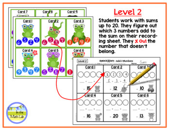 Knock Out Task Cards - Add 3 Numbers **2 Levels**