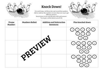 Knock Down! Addition and Subtraction Game