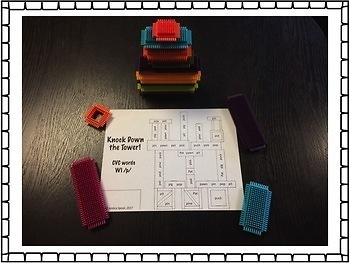 Knock Down the Tower: Worksheets for CVC words