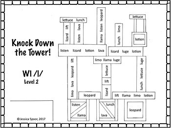 Knock Down the Tower: Levelled Worksheet Bundle for Later-Developing Sounds