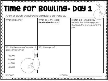 Knock Down those Pins! (Bowling) - Weekly Reading Passage and Questions