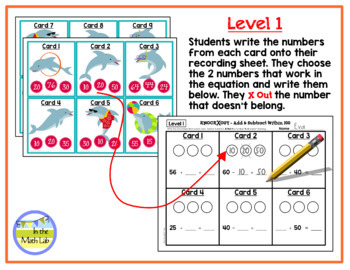 Knock Out Task Cards - Add & Subtract Within 100 **2 Levels**