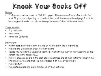 Knock Your Socks Off Pattern Math Game for grades K-3