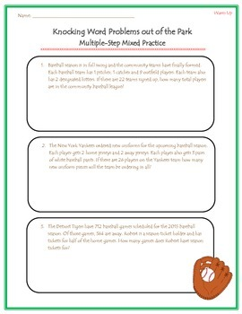 Knocking Word Problems Out of the Park: Multi-step problem practice