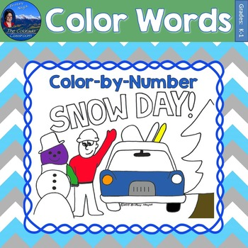 Color Words Math Practice Snow Day Color by Number