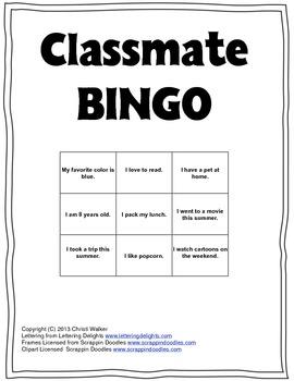 Know Your Classmate BINGO
