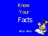 Know Your Facts 6 - 9 X's Game PowerPoint