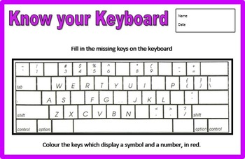 Know Your Keyboard - Fill in the Blanks