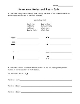 Know Your Notes and Rests Quiz Full Page