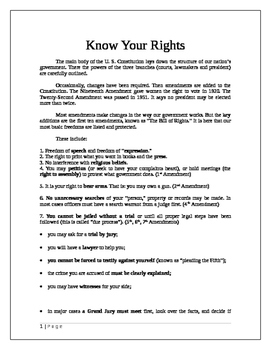 U. S. Government: Know Your Rights