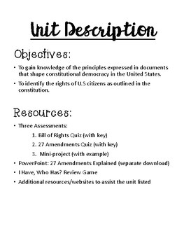 Know Your Rights! A Unit on the Amendments in the Constitution