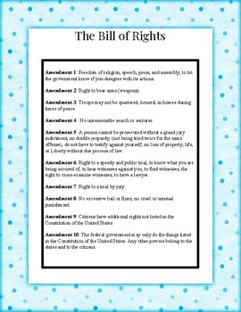 Know Your Rights, Constitution Bill of Rights Activity