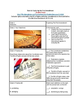 Tutorial - Know Your Rights - Explore the 1st Amendment - Study Guide & Ans Key