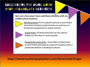 Know Your Vocabulary Template!