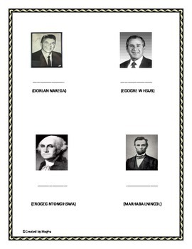 Know Your presidents,Famous presidents of America, Unjumble words,Fun,Guess Who