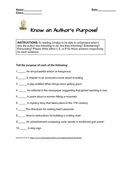Know an author's purpose | Identifying writing styles.