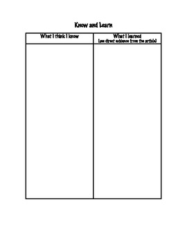 Know and Learn Graphic Organizer