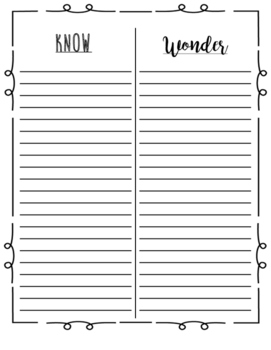 Know and Wonder Chart