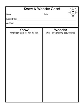 Know and Wonder Graphic Organizer