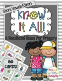 Know-it-All Headband Game {Short Vowel Edition}