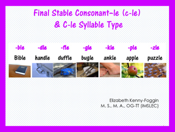 Know the Code: Syllable Types - Consonant -le (cle)