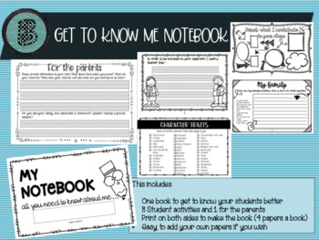 Know your students Notebook (Back to School)