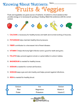 Fruit and Vegetable Nutrients