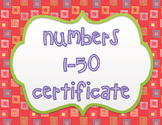 Knowing Numbers 1-50 Certificate