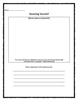 Knowing Yourself worksheet