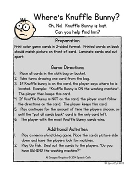 Knuffle Bunny Positional Word Game & Book Companion
