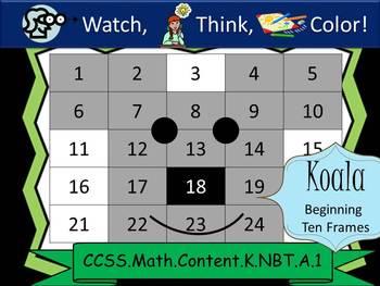 Koala Bear Beginning Ten Frames - Watch, Think, Color! CCSS.K.NBT.A.1