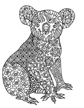 Koala Bear Zentangle Coloring Page