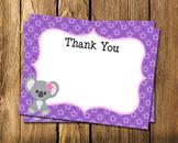 Koala  Girl Flat Thank You Note Cards