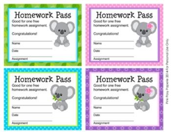 Koala Bear Homework Passes
