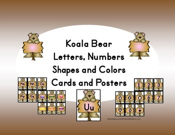 Koala Bear, Letters, Numbers, Shapes and Colors Cards and Posters