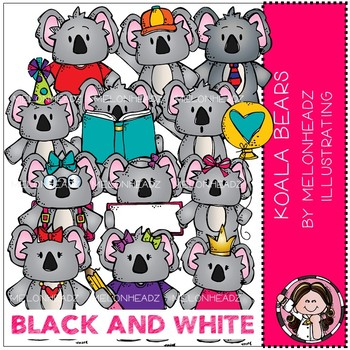 Koala Bears clip art - BLACK AND WHITE - Melonheadz Clipart