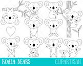 Koala Clip Art, Australian Animal Coloring Activity