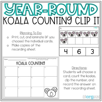 Koala Counting Clip Cards Kindergarten Year-Round Math Center