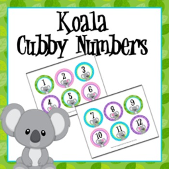 Koala Cubby Number Labels 1-30
