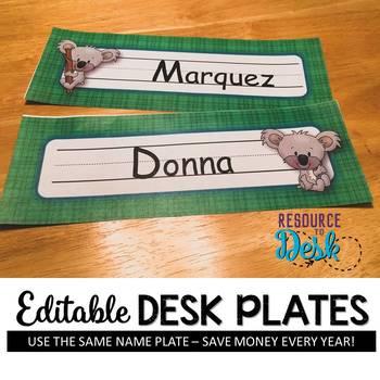 Nameplates Koala Cuties  *EDITABLE VERSION*