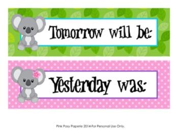Koala Days of the Week Calendar Headers
