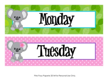 Koala Days of the Week Calendar Headers