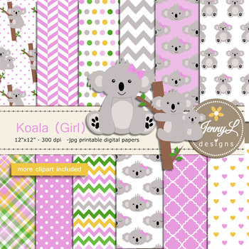 Koala Girl digital paper and clipart