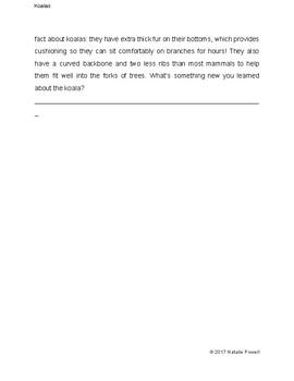Koala Informational Text: Dyslexia-Friendly