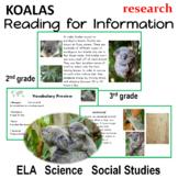 Koalas and Australia Reading for information ela, science or social studies