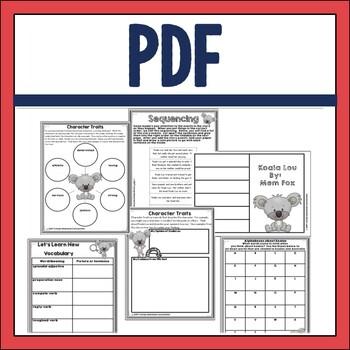 Koala Lou Book Companion in Digital and PDF Formats